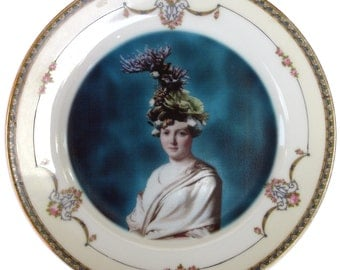 Portrait of Coral - Altered Vintage Plate 7.75""