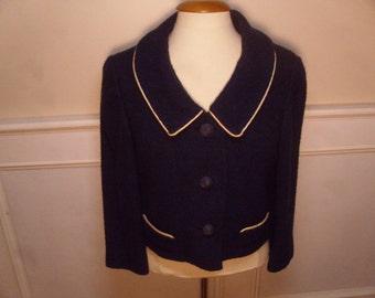 ON SALE  Vintage 1960's  Navy Blue Cropped Jacket