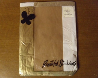 Vintage 1960's  Seamless Mesh Stockings  Large Size 10 1/2