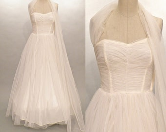 1950s Prom Dress, Vintage 50s Wedding Dress, Ivory Strapless Sweetheart Tulle Formal XS