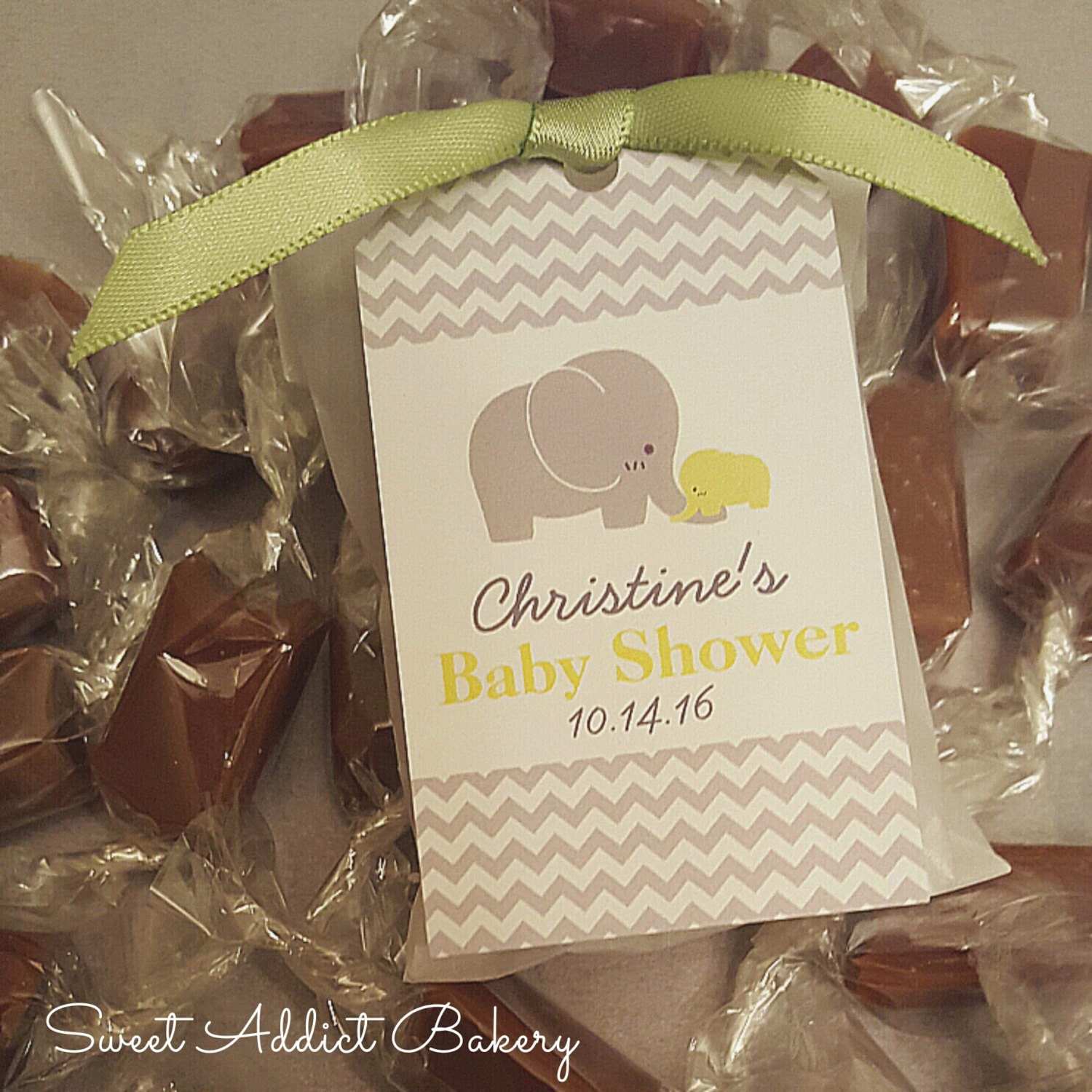 green grey elephant edible baby shower favors 2 caramels