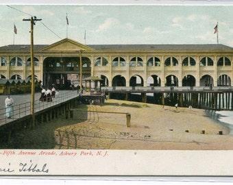 Fifth Avenue Arcade Asbury Park New Jersey 1907c postcard