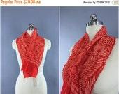 SALE 30% OFF - Vintage 1960s Silk Scarf / Silk Kimono Obiage / Silk Wrap Sash Obi / Spring Summer Scarf / Dark Orange-Red  White Flying Cran