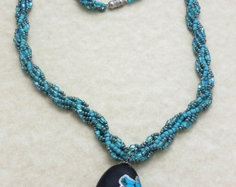 Beaded Faux Polymer Clay Turquoise Necklace Free Shipping