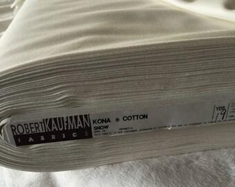 "White Kona Solid ""Snow"" Yardage, Robert Kaufman Fabric, Quilting Fabric, Sewing Fabric, Craft Fabric"