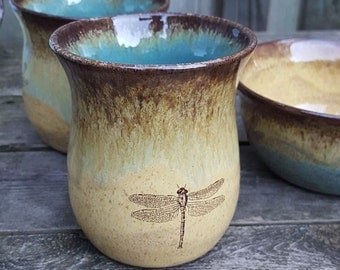 Dragonfly handmade ceramic wheel thrown CUP bourbon sipper wine cup blue yellow brown Earthy Rustic handmade ceramics handmade pottery