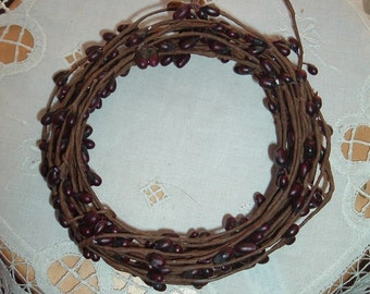 One 18' Pip Berry Rope Garland Dark Burgundy Red Primitive Crafts Folkart Doll Making Wreaths Swags