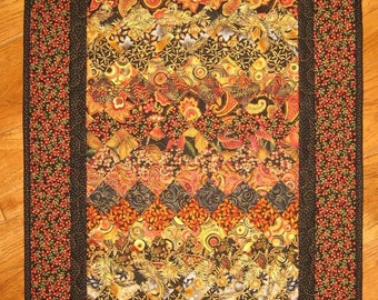 Black and Gold Paisley Art Quilt Kashmir Rug Quilted Wall Hanging Orange Rust Gray Wall Art Quilt Abstract Art Contemporary Quilt