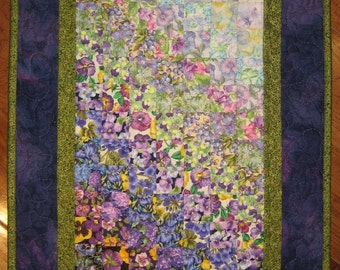 Art Quilt, Purple Green Summer Garden Flower Fabric Wall Hanging, Watercolor Quilt, Textile Art Quilt, Pansies, Mums, Quilt Wall Hanging