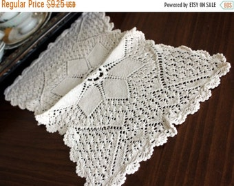 Knitted Doily, French Cream, Vintage Centerpiece, Knit Doily, Handmade Doilies 13107