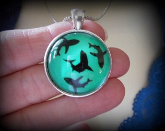 Glow in the Dark Shark Necklace Pendant, Silver
