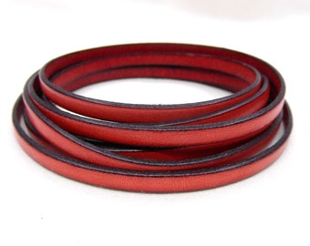 """Genuine Flat Leather Cord 5mm, Red Leather Cord, Greek High Quality Leather Cord- 16""""/40.6cm approx."""