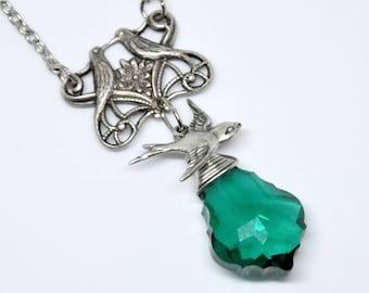 Teal Crystal Necklace, Flying Bird Necklace, Antique Silver Lovebird Necklace, Swarovski Baroque Crystal Pendant Necklace, Sparrow Necklace
