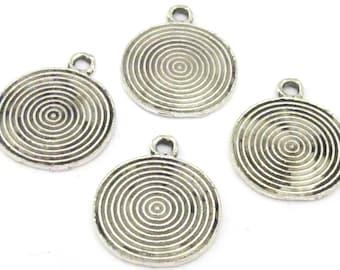 4 charms - Tibetan spiral symbol antiqued silver tone charms - 25 mm x 21 mm - CM144