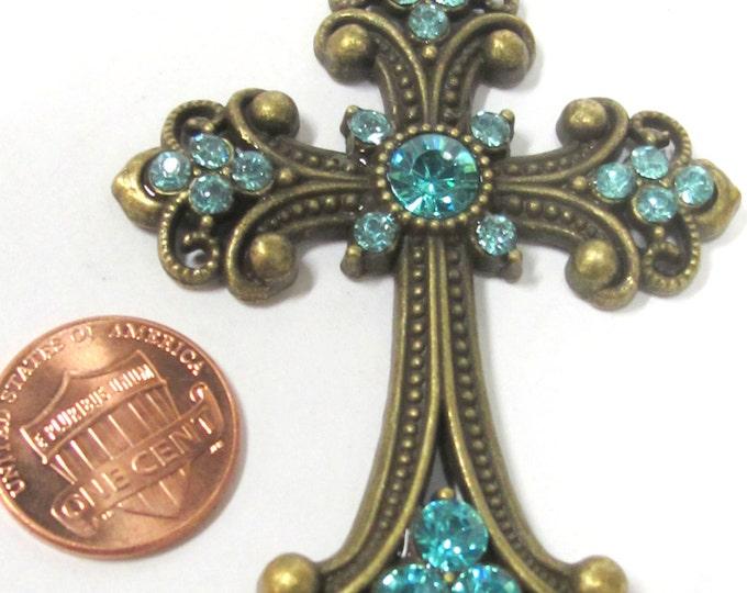 1 Pendant - Beautiful Cross aqua blue rhinestone crystal pendant - MG024A