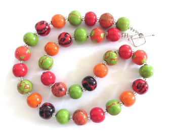 Beaded Necklace, Ceramic Jewelry, Kazuri Bead Necklace, Orange Red Green and Navy Blue Necklace