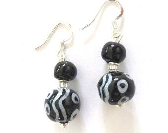 Kazuri Earrings, Black and White Kazuri Earrings