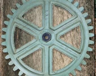 NEW - Industrial Wooden Gear Steampunk Wall Art Cog