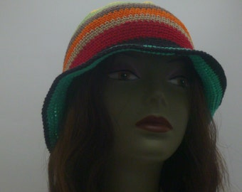Spring Summer Sun Hat Crochet Cloche  With Brim  Red Yellow Green Turquoise Orange Black Brown