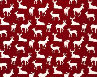 Oilcloth aka laminated cotton heavyweight tablecloth fitted by TAILORING or fitted by ELASTIC or DRAPED, Crimson Red Christmas Deer