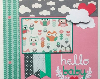 Baby girl premade scrapbook layout - Baby girl scrapbook page - 12x12 baby girl scrapbook page - Scrapbook page baby girl - scrapbook layout