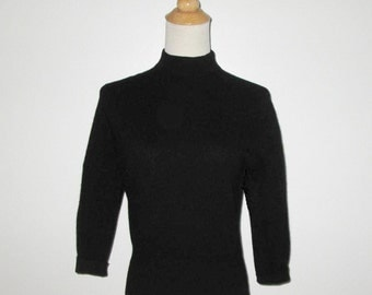 Vintage 1950s Black Pullover Sweater With Mock Turtleneck Cashmora By Elliot - Size S