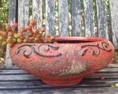 Vintage Burnt Orange Planter Pottery