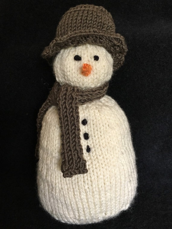 Hand Knitted Snow Family- Dad Snowman-Handmade Snowman Doll-Knitted Snowman-Snowman with Hat-Christmas Decorations-Gifts