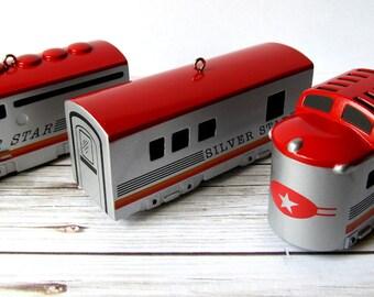 VINTAGE - 1992 Hallmark Christmas Silver Star Streamliner Train Ornament Set - Locomotive/Luggage/Dome Car - Collectibles