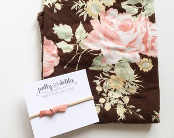 Baby girl swaddle blanket and bow headband set. Brown with coral and pink vintage floral with matching bow headband.