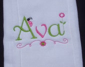 Personalized Girls  Burp Cloth