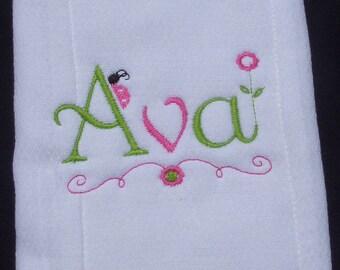 Personalized Girls  Burp Cloth
