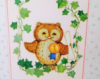 Pink Vintage 1980's Hallmark Graduation Greeting Card for a Special Sister, Pink with an Owl