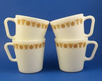 4 Butterfly Gold Mugs by Corelle Pyrex Yellow Flowers Sunrise Cups Coffee Vtg