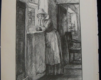 Dutch Girl, Judith Shakespeare, Antique Art Illustration by E. A. Abbey, 1884 book plate, to frame