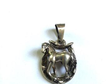 Chunky Sterling Horse and Horseshoe Pendant