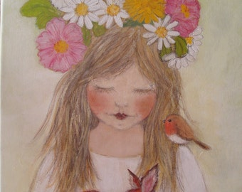 Flowers Original Painting Acrylic Blonde Little Girl Child Fawn Butterfly