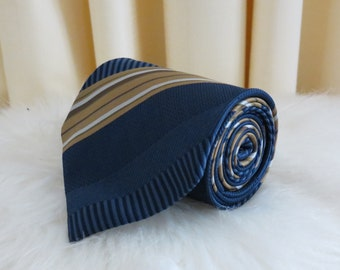 Vintage 90s Made in Australia Pierre Cardin Paris Dark Blue Navy and Brown Beige Diagonally Striped Necktie Tie