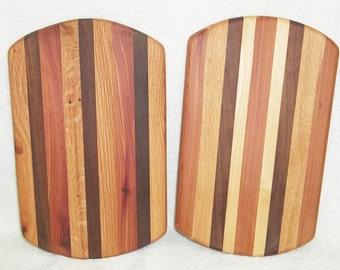 Handmade Oval Multi-Wood Cutting Board/Trivet