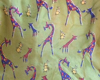 Vintage Silk Giraffe Scarf