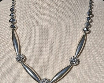 Silver Tube Rhinestone Necklace