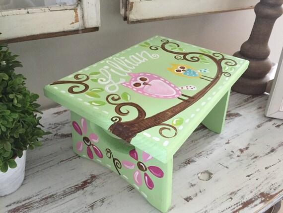 Light Green Square Owl Step Stool - Brooke Owl - Custom Customize - Bedroom Bathroom Decoration - Wooden