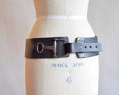 Reserved ~ Vintage 1980s HUGE black statement belt