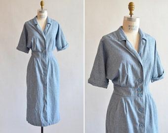 Vintage 1980s denim SHIRT dress