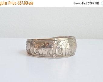 50% OFF SALE / SALE / Vintage embossed steel cuff bracelet