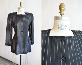 Vintage 1980s NORMA KAMALI pinstripe wool blazer