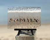 Beach Theme Photo gift-  FAMILY, Beach Stone Word Photo on Small Black Wood Easel, unique gift for mom, coastal décor, word art, 4x6 photo