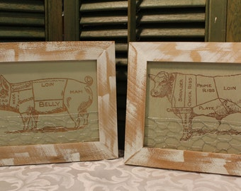 Farm Animal With Chicken Wire Accent - Chose From A Pig - Cow - Framed Wood Animal Art