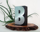 Letter B Brushed Metal Face Wood Type Letterpress Vintage Print Block