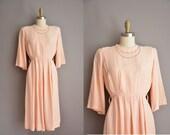 40s peach pink brass studded vintage dress / vintage 1940s dress